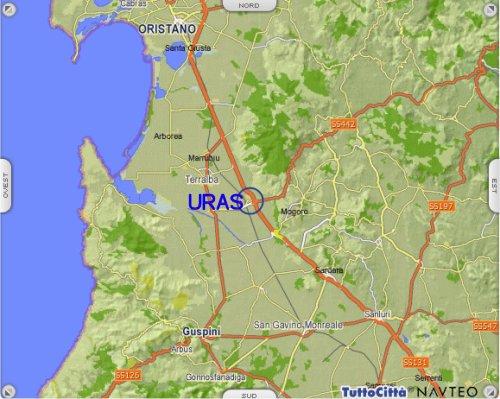 Cartina Sardegna Uras.Agriturismo Uras Agriturismo Oristano Agriturismo Thamis